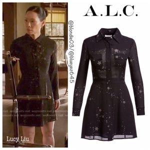 """A.L.C. """"Pedro"""" black star print dress 8"""